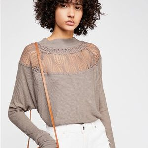 Free People Spring Valley Beige Thermal Top Small
